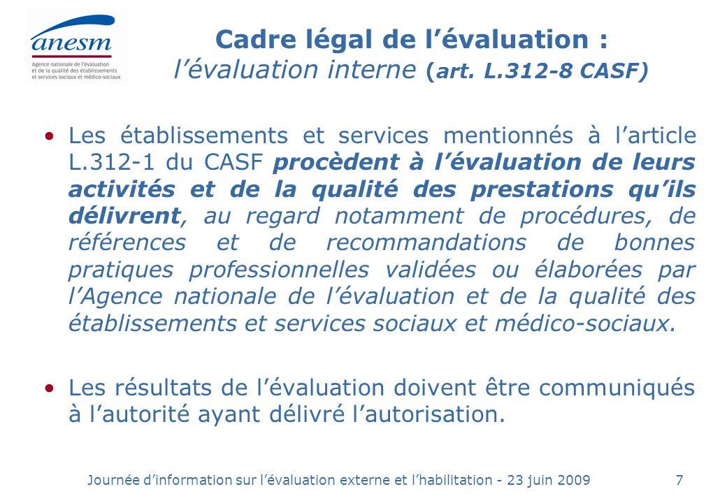 Journée dinformation sur lévaluation externe et lhabilitation - 23 juin 20097 Cadre légal de lévaluation : lévaluation interne (art.
