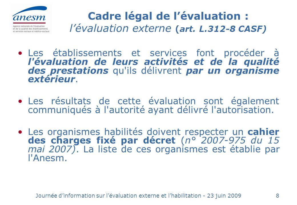 Journée dinformation sur lévaluation externe et lhabilitation - 23 juin 20098 Cadre légal de lévaluation : lévaluation externe (art.