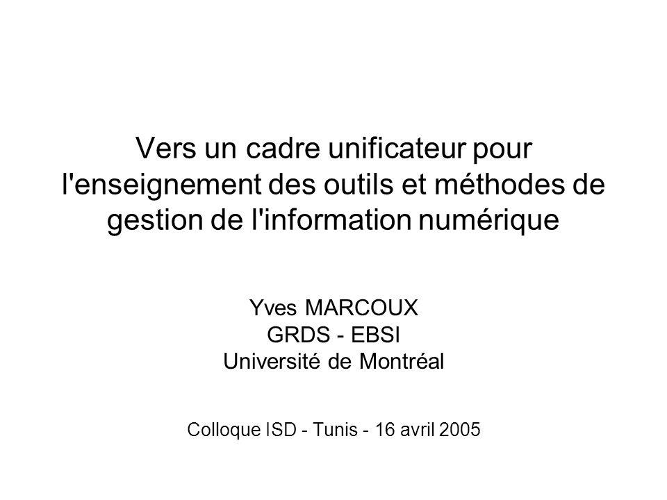 Vers un cadre unificateur pour l enseignement des outils et méthodes de gestion de l information numérique Yves MARCOUX GRDS - EBSI Université de Montréal Colloque ISD - Tunis - 16 avril 2005