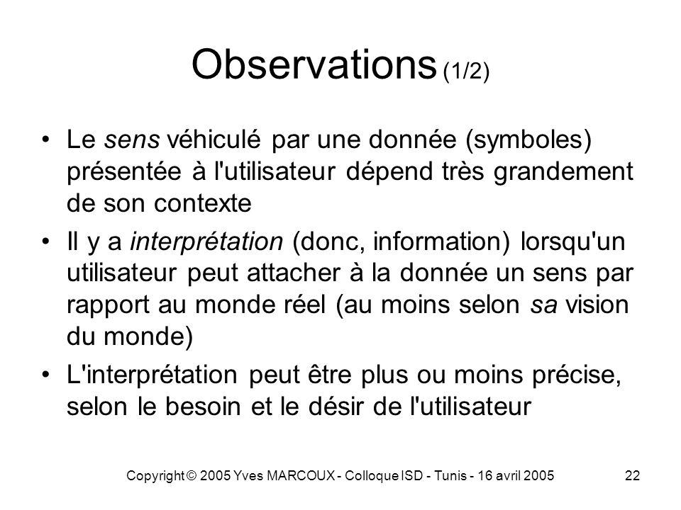Copyright © 2005 Yves MARCOUX - Colloque ISD - Tunis - 16 avril 200522 Observations (1/2) Le sens véhiculé par une donnée (symboles) présentée à l utilisateur dépend très grandement de son contexte Il y a interprétation (donc, information) lorsqu un utilisateur peut attacher à la donnée un sens par rapport au monde réel (au moins selon sa vision du monde) L interprétation peut être plus ou moins précise, selon le besoin et le désir de l utilisateur