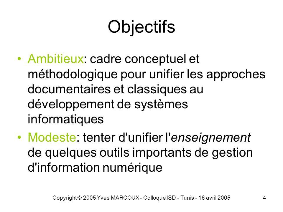 Copyright © 2005 Yves MARCOUX - Colloque ISD - Tunis - 16 avril 20054 Objectifs Ambitieux: cadre conceptuel et méthodologique pour unifier les approches documentaires et classiques au développement de systèmes informatiques Modeste: tenter d unifier l enseignement de quelques outils importants de gestion d information numérique