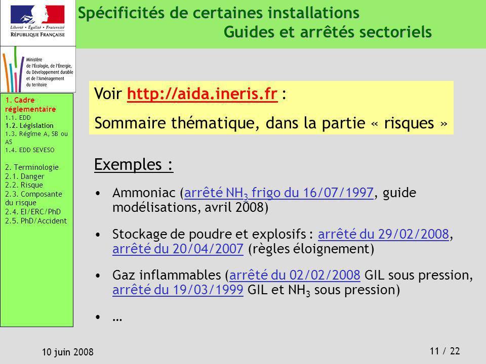 11 / 22 10 juin 2008 Spécificités de certaines installations Guides et arrêtés sectoriels Exemples : Ammoniac (arrêté NH 3 frigo du 16/07/1997, guide