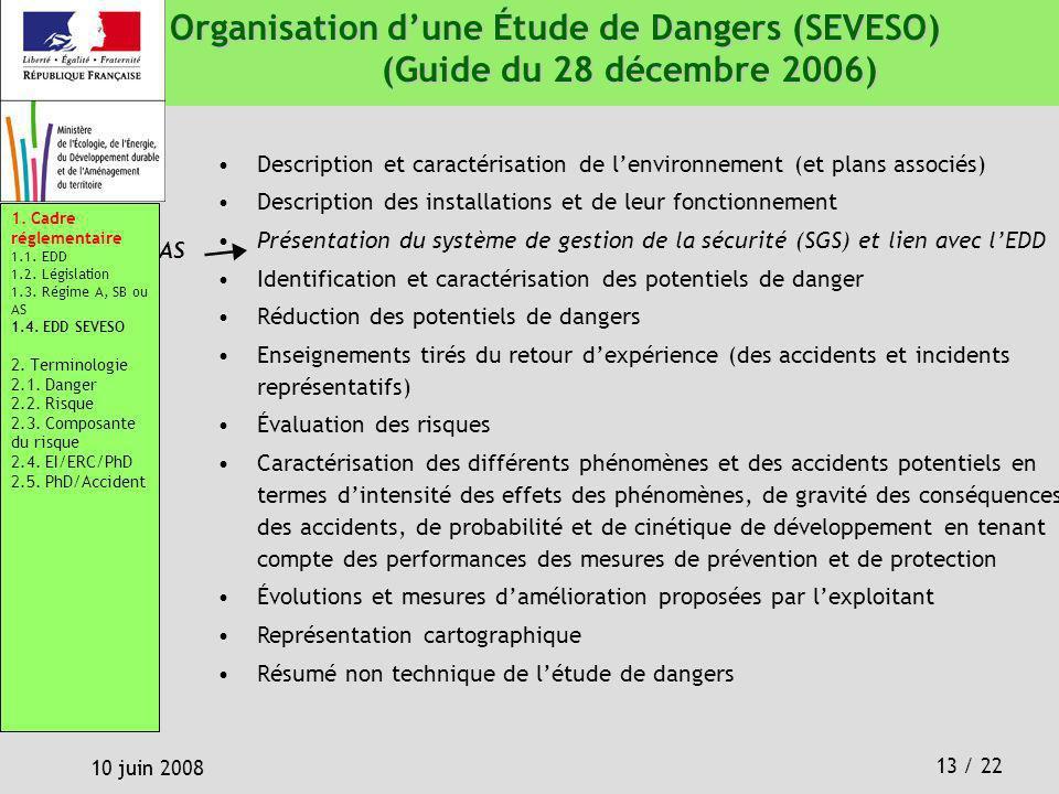 13 / 22 10 juin 2008 Description et caractérisation de lenvironnement (et plans associés) Description des installations et de leur fonctionnement Prés