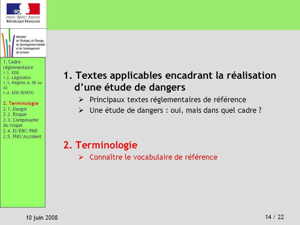 14 / 22 10 juin 2008 1. Textes applicables encadrant la réalisation dune étude de dangers Principaux textes réglementaires de référence Une étude de d