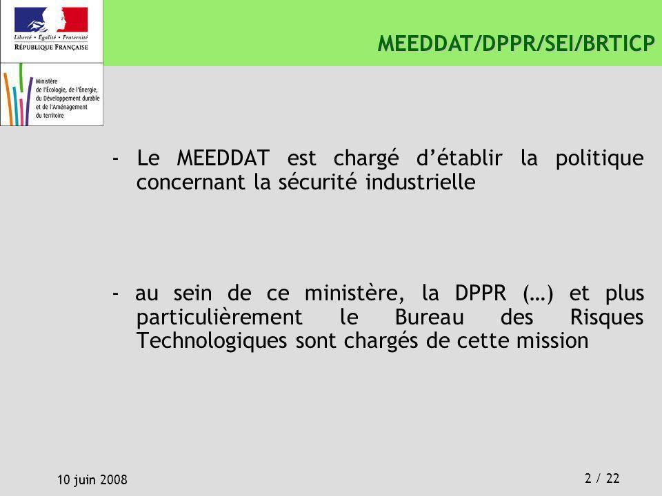 2 / 22 10 juin 2008 MEEDDAT/DPPR/SEI/BRTICP - Le MEEDDAT est chargé détablir la politique concernant la sécurité industrielle - au sein de ce ministèr