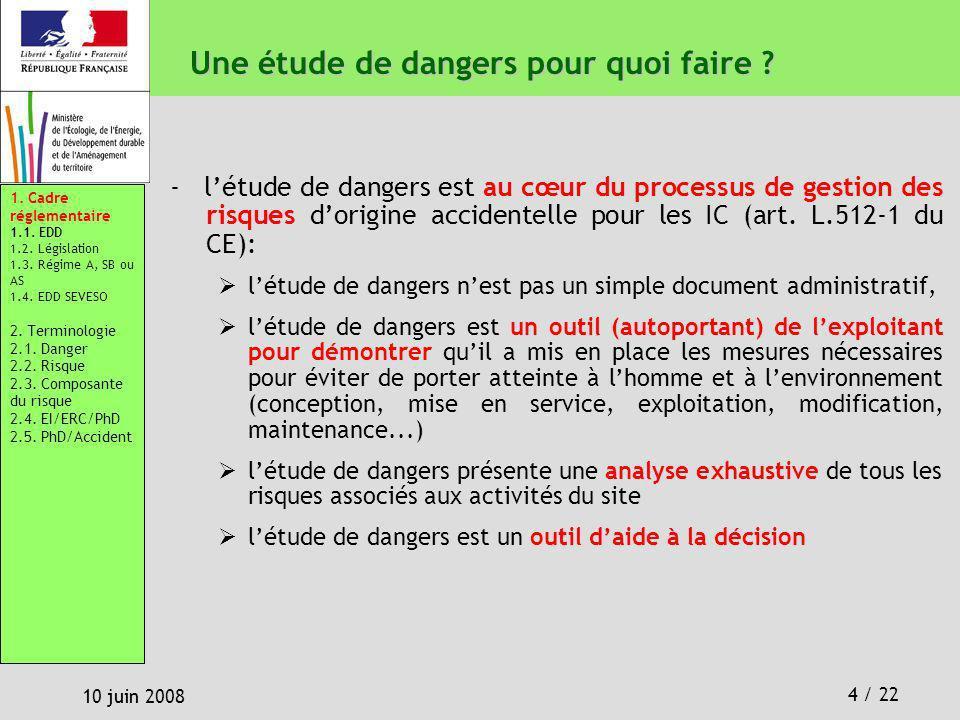 4 / 22 10 juin 2008 Une étude de dangers pour quoi faire ? - létude de dangers est au cœur du processus de gestion des risques dorigine accidentelle p