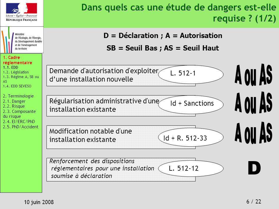 6 / 22 10 juin 2008 Dans quels cas une étude de dangers est-elle requise ? (1/2) Dans quels cas une étude de dangers est-elle requise ? (1/2) L. 512-1
