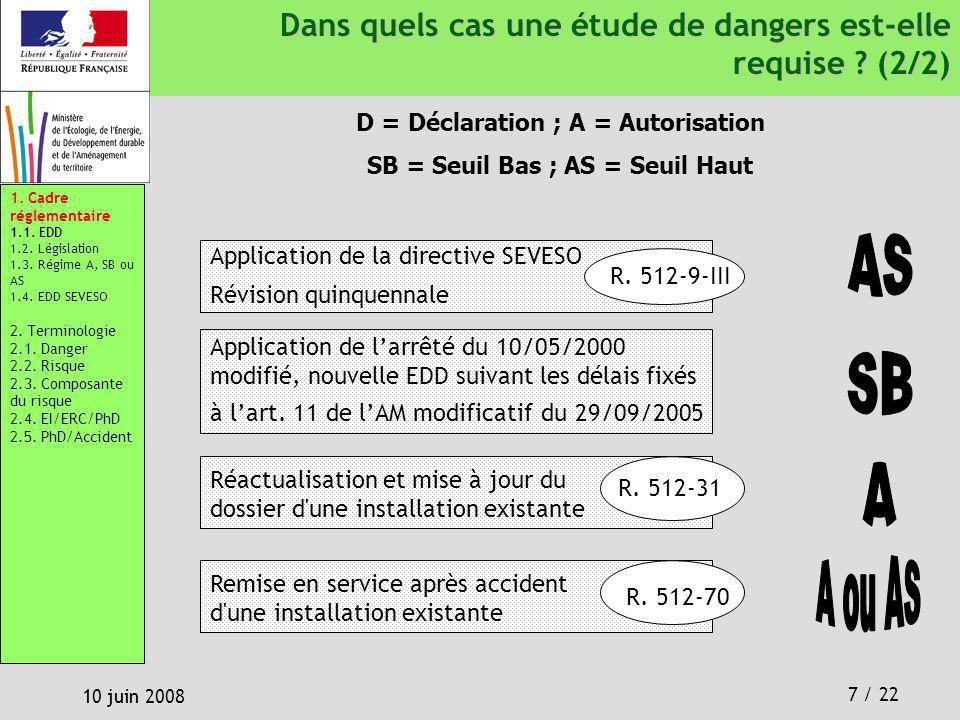 7 / 22 10 juin 2008 Dans quels cas une étude de dangers est-elle requise ? (2/2) Dans quels cas une étude de dangers est-elle requise ? (2/2) Réactual