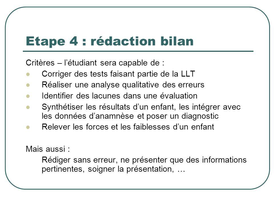Etape 4 : rédaction bilan Critères – létudiant sera capable de : Corriger des tests faisant partie de la LLT Réaliser une analyse qualitative des erre