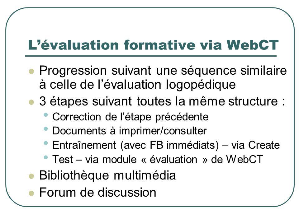 Lévaluation formative via WebCT Progression suivant une séquence similaire à celle de lévaluation logopédique 3 étapes suivant toutes la même structur