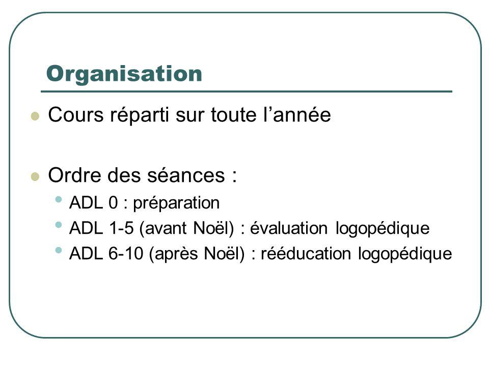 Organisation Cours réparti sur toute lannée Ordre des séances : ADL 0 : préparation ADL 1-5 (avant Noël) : évaluation logopédique ADL 6-10 (après Noël