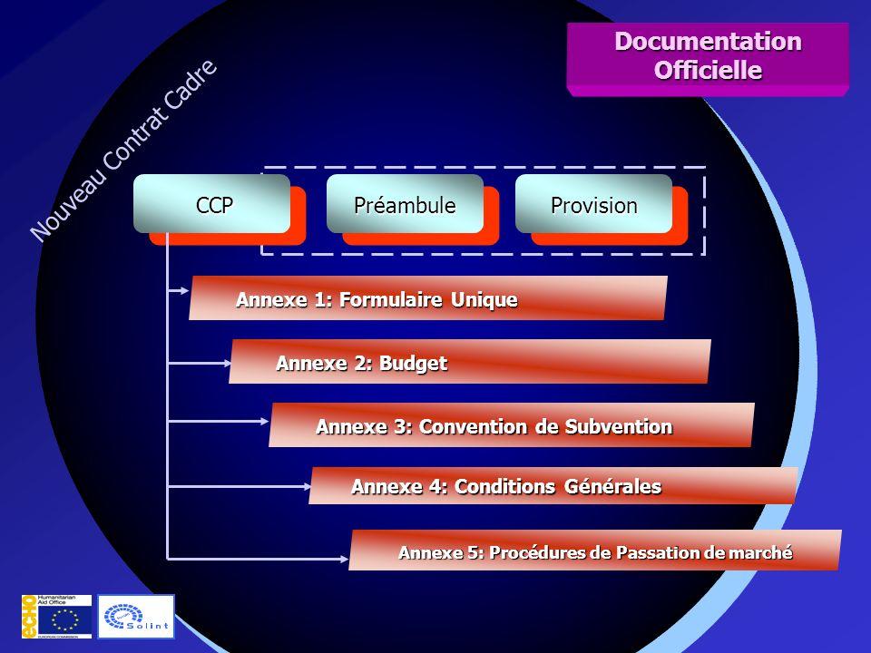 Nouveau Contrat Cadre PréambulePréambuleProvisionProvision CCP CCP Annexe 1: Formulaire Unique Annexe 2: Budget Annexe 3: Convention de Subvention Annexe 4: Conditions Générales Annexe 5: Procédures de Passation de marché Documentation Officielle