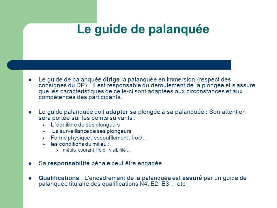 Le guide de palanquée Le guide de palanquée dirige la palanquée en immersion (respect des consignes du DP). Il est responsable du déroulement de la pl