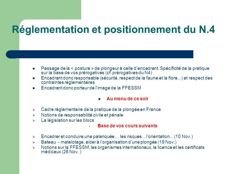 Réglementation et positionnement du N.4 Passage de la « posture » de plongeur à celle dencadrant. Spécificité de la pratique sur la base de vos prérog