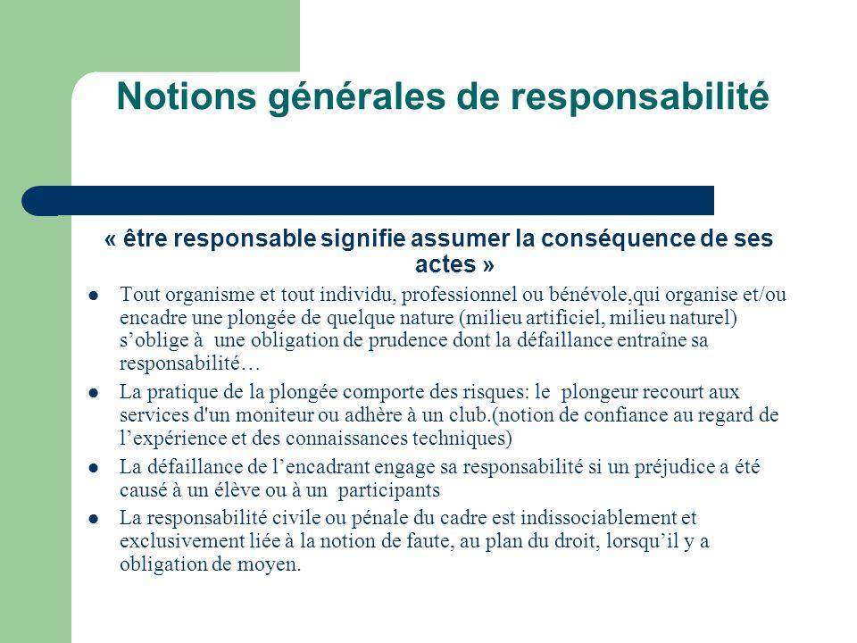 Notions générales de responsabilité « être responsable signifie assumer la conséquence de ses actes » Tout organisme et tout individu, professionnel o