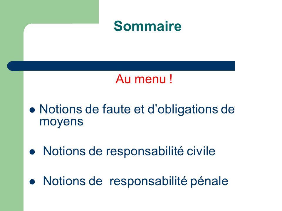 Sommaire Au menu ! Notions de faute et dobligations de moyens Notions de responsabilité civile Notions de responsabilité pénale