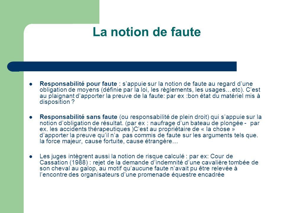 La notion de faute Responsabilité pour faute : sappuie sur la notion de faute au regard dune obligation de moyens (définie par la loi, les règlements,