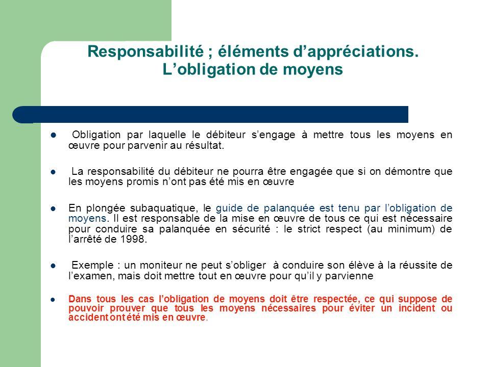 Responsabilité ; éléments dappréciations. Lobligation de moyens Obligation par laquelle le débiteur sengage à mettre tous les moyens en œuvre pour par