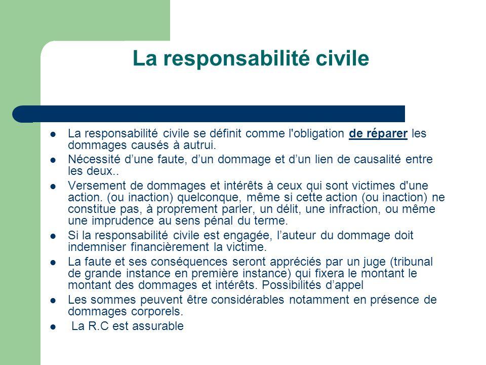 La responsabilité civile La responsabilité civile se définit comme l'obligation de réparer les dommages causés à autrui. Nécessité dune faute, dun dom
