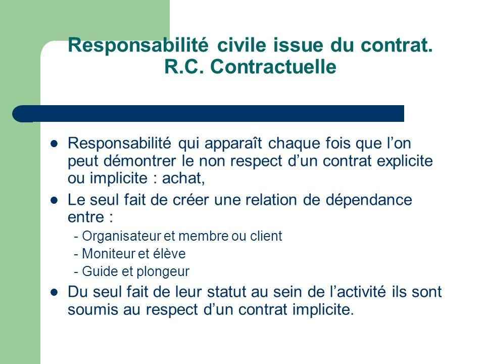 Responsabilité civile issue du contrat. R.C. Contractuelle Responsabilité qui apparaît chaque fois que lon peut démontrer le non respect dun contrat e