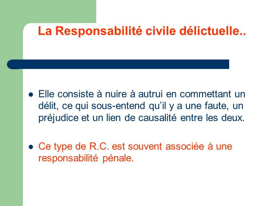 La Responsabilité civile délictuelle.. Elle consiste à nuire à autrui en commettant un délit, ce qui sous-entend quil y a une faute, un préjudice et u