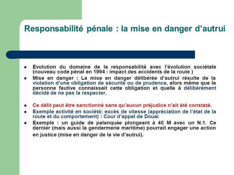 Responsabilité pénale : la mise en danger dautrui Evolution du domaine de la responsabilité avec lévolution sociétale (nouveau code pénal en 1994 : im