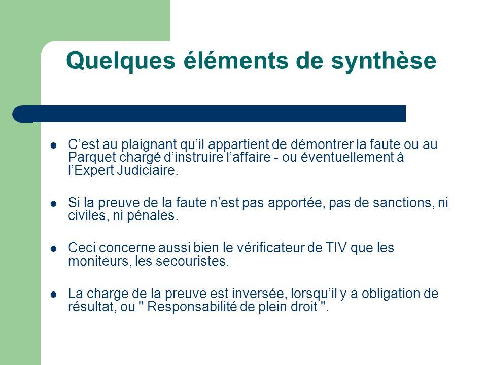 Quelques éléments de synthèse Cest au plaignant quil appartient de démontrer la faute ou au Parquet chargé dinstruire laffaire - ou éventuellement à lExpert Judiciaire.