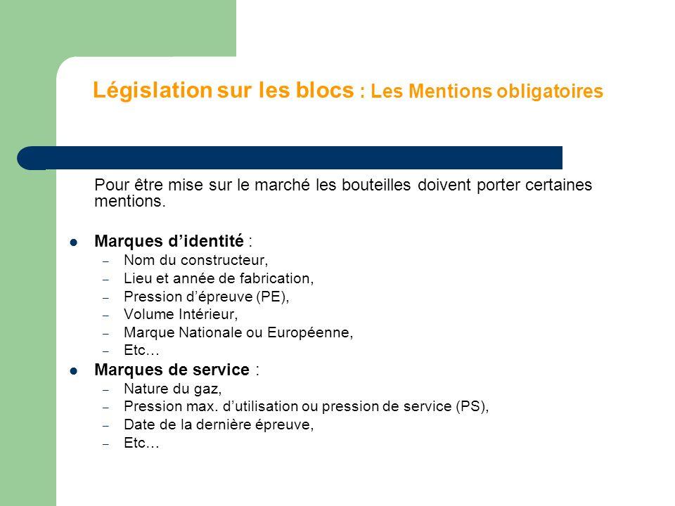 Législation sur les blocs : Les Mentions obligatoires Pour être mise sur le marché les bouteilles doivent porter certaines mentions. Marques didentité