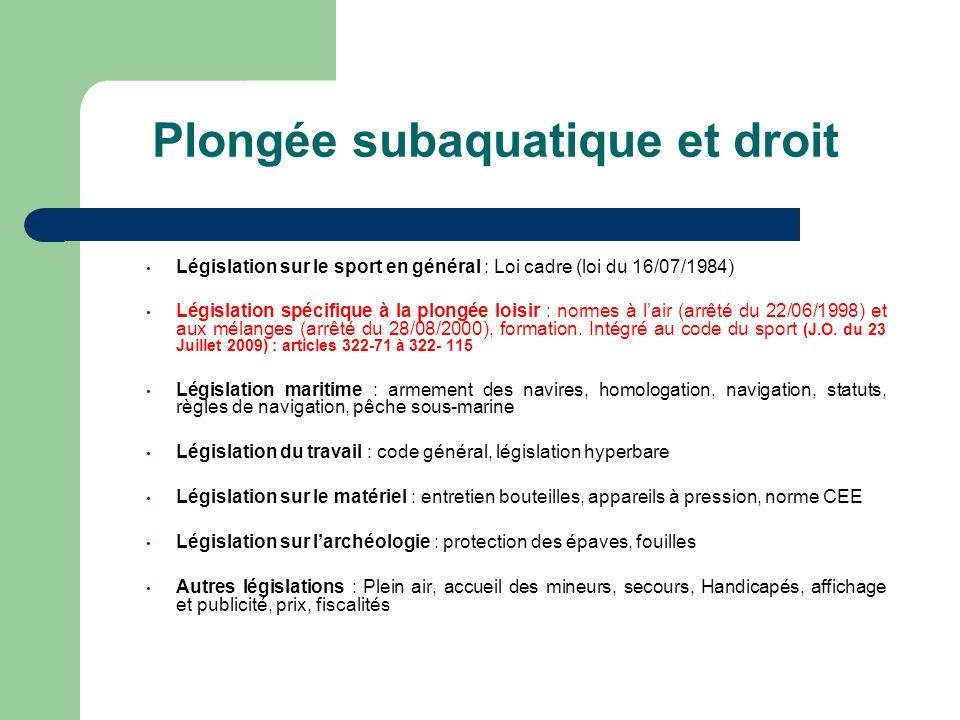 Plongée subaquatique et droit Législation sur le sport en général : Loi cadre (loi du 16/07/1984) Législation spécifique à la plongée loisir : normes à lair (arrêté du 22/06/1998) et aux mélanges (arrêté du 28/08/2000), formation.