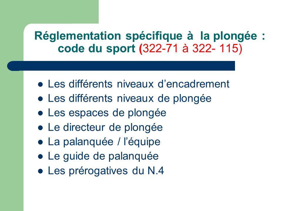 Réglementation spécifique à la plongée : code du sport (322-71 à 322- 115) Les différents niveaux dencadrement Les différents niveaux de plongée Les e