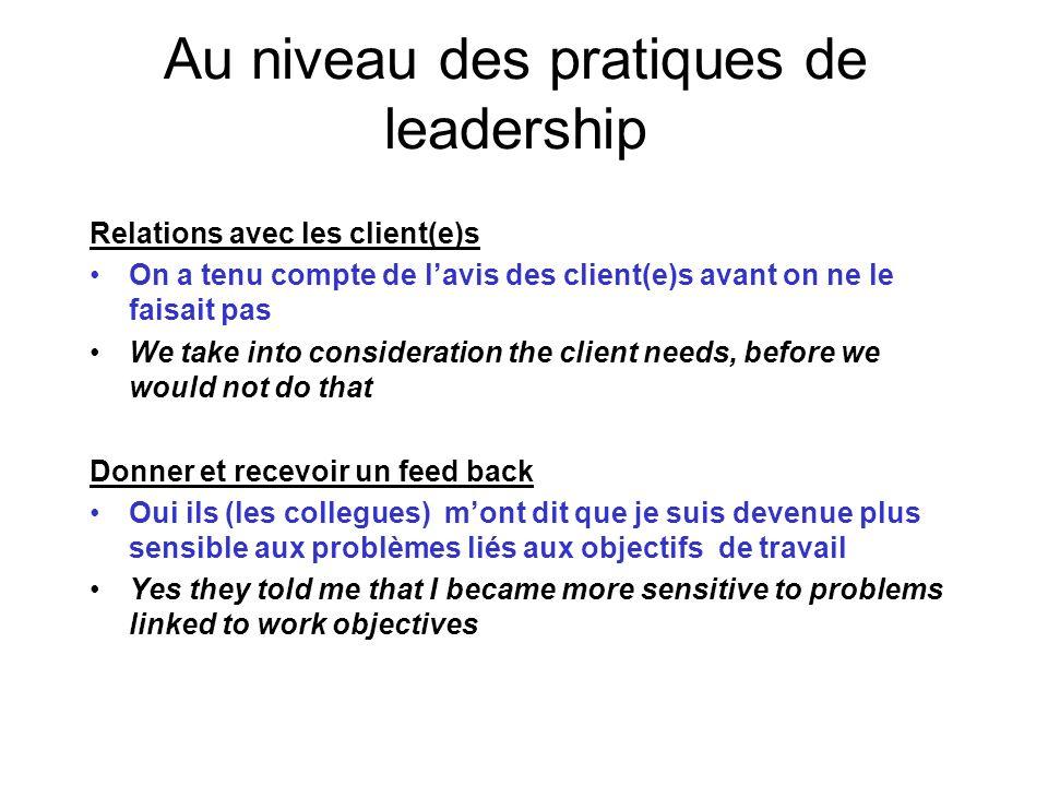 Au niveau des pratiques de leadership Relations avec les client(e)s On a tenu compte de lavis des client(e)s avant on ne le faisait pas We take into c