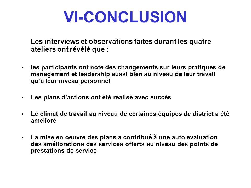 VI-CONCLUSION Les interviews et observations faites durant les quatre ateliers ont révélé que : les participants ont note des changements sur leurs pr