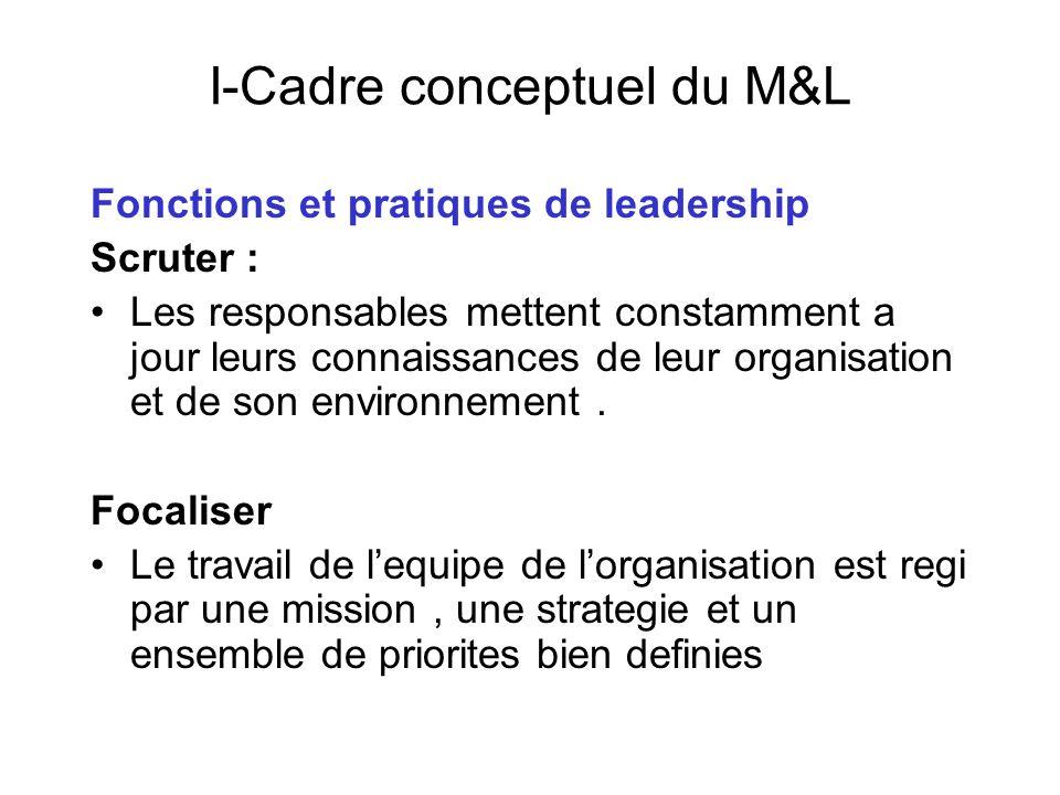 I-Cadre conceptuel du M&L Fonctions et pratiques de leadership Scruter : Les responsables mettent constamment a jour leurs connaissances de leur organ