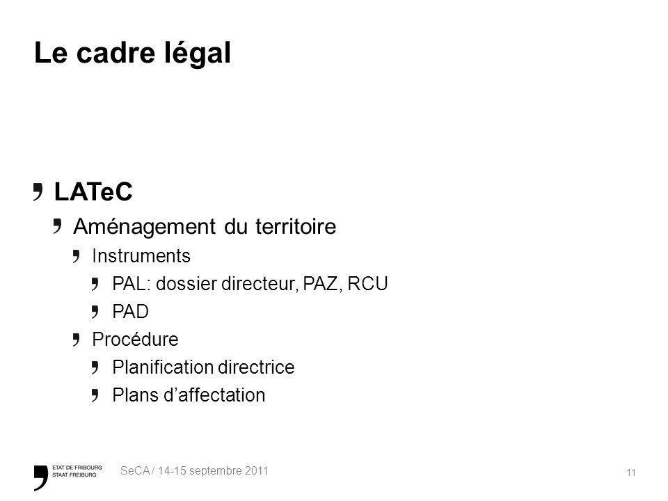 11 SeCA / 14-15 septembre 2011 Le cadre légal LATeC Aménagement du territoire Instruments PAL: dossier directeur, PAZ, RCU PAD Procédure Planification