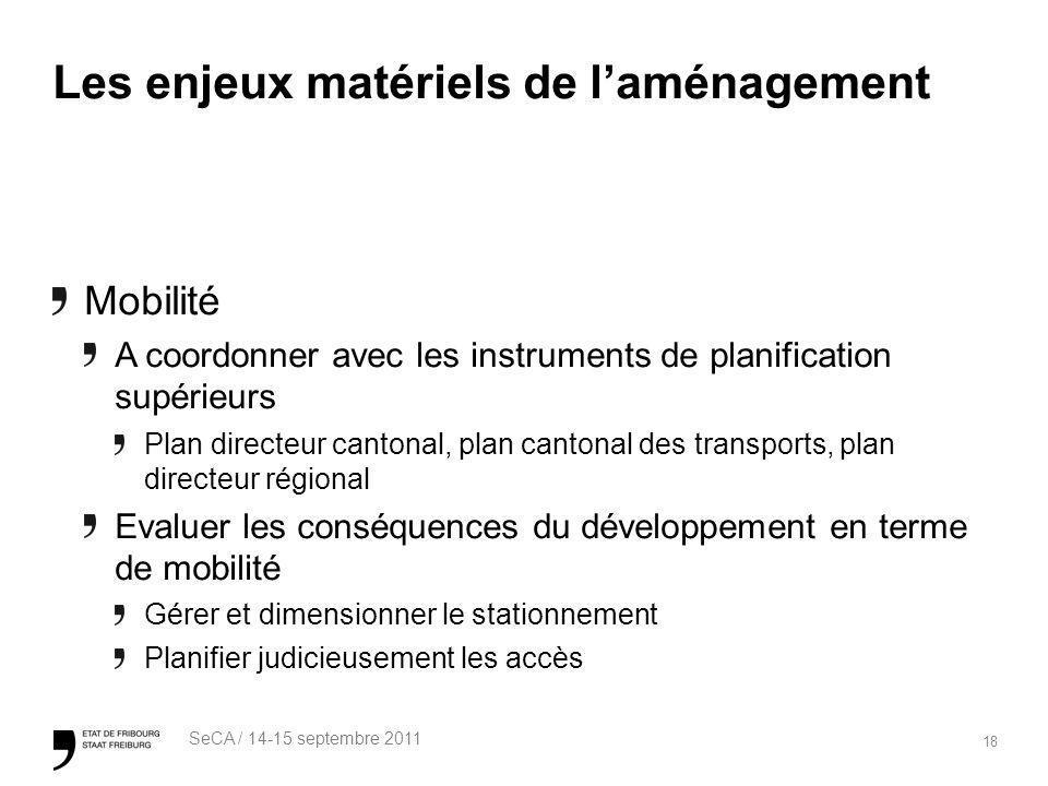 18 SeCA / 14-15 septembre 2011 Les enjeux matériels de laménagement Mobilité A coordonner avec les instruments de planification supérieurs Plan direct