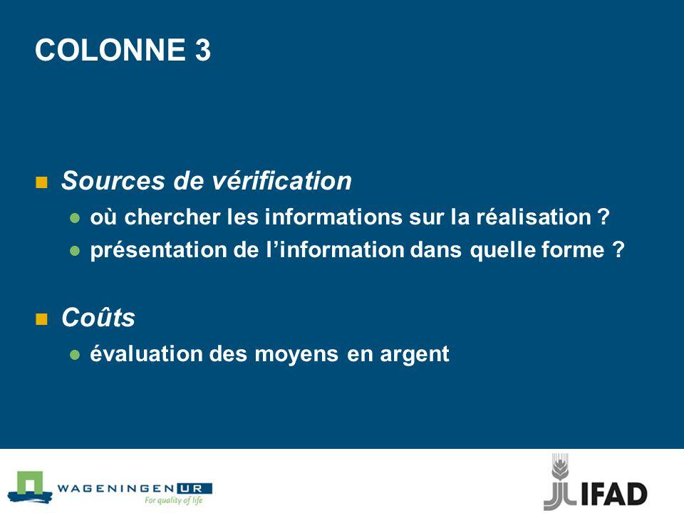COLONNE 3 Sources de vérification où chercher les informations sur la réalisation .