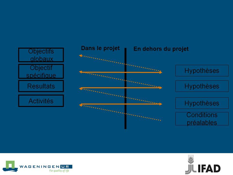 Objectifs globaux Objectif spécifique Resultats Activités Conditions préalables Hypothèses Dans le projet En dehors du projet