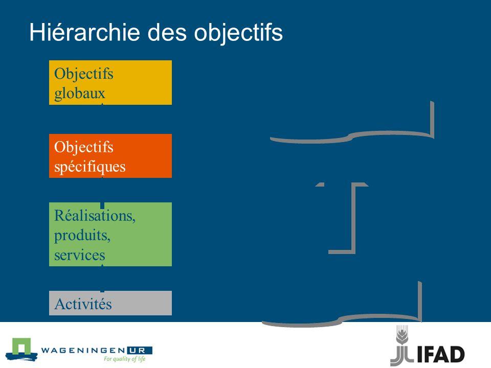 Hiérarchie des objectifs Activités Réalisations, produits, services Objectifs spécifiques Objectifs globaux Moyens Fin