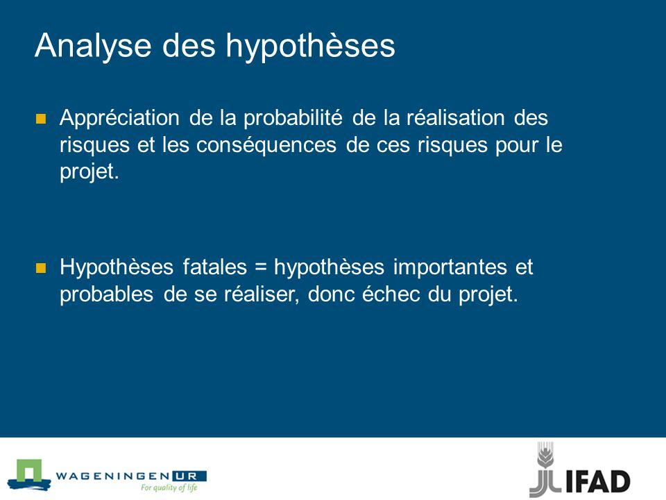 Analyse des hypothèses Appréciation de la probabilité de la réalisation des risques et les conséquences de ces risques pour le projet.