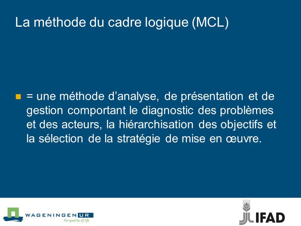 La méthode du cadre logique (MCL) = une méthode danalyse, de présentation et de gestion comportant le diagnostic des problèmes et des acteurs, la hiérarchisation des objectifs et la sélection de la stratégie de mise en œuvre.