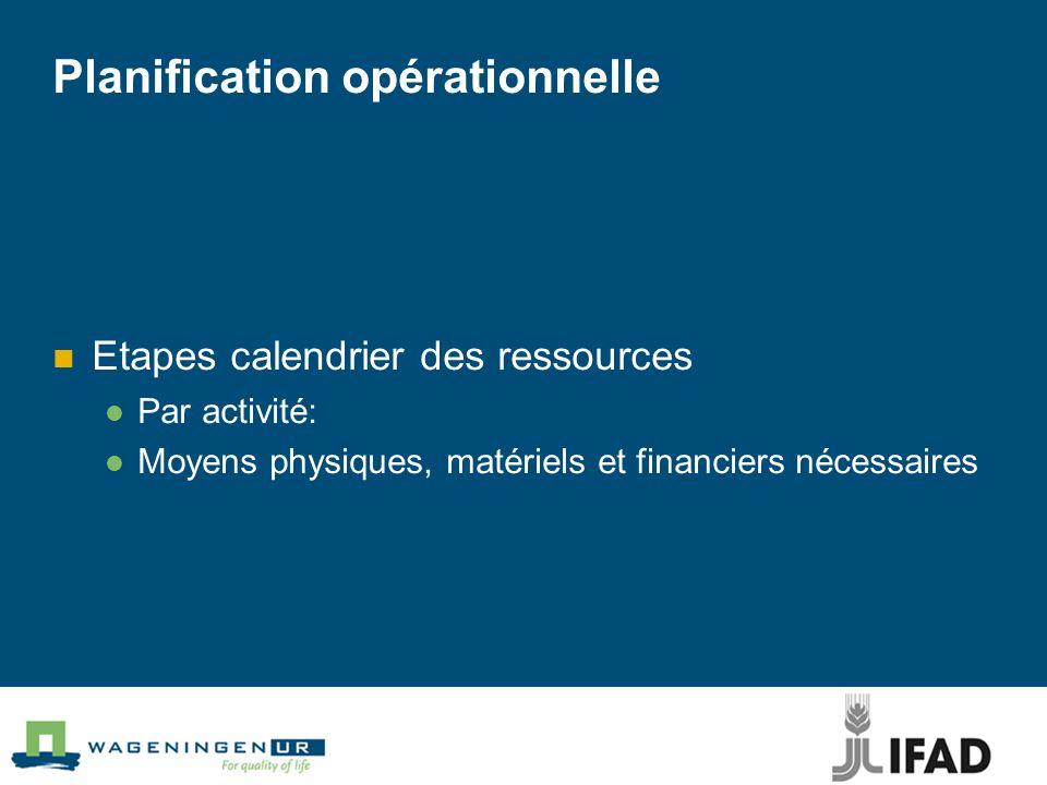 Planification opérationnelle Etapes calendrier des ressources Par activité: Moyens physiques, matériels et financiers nécessaires