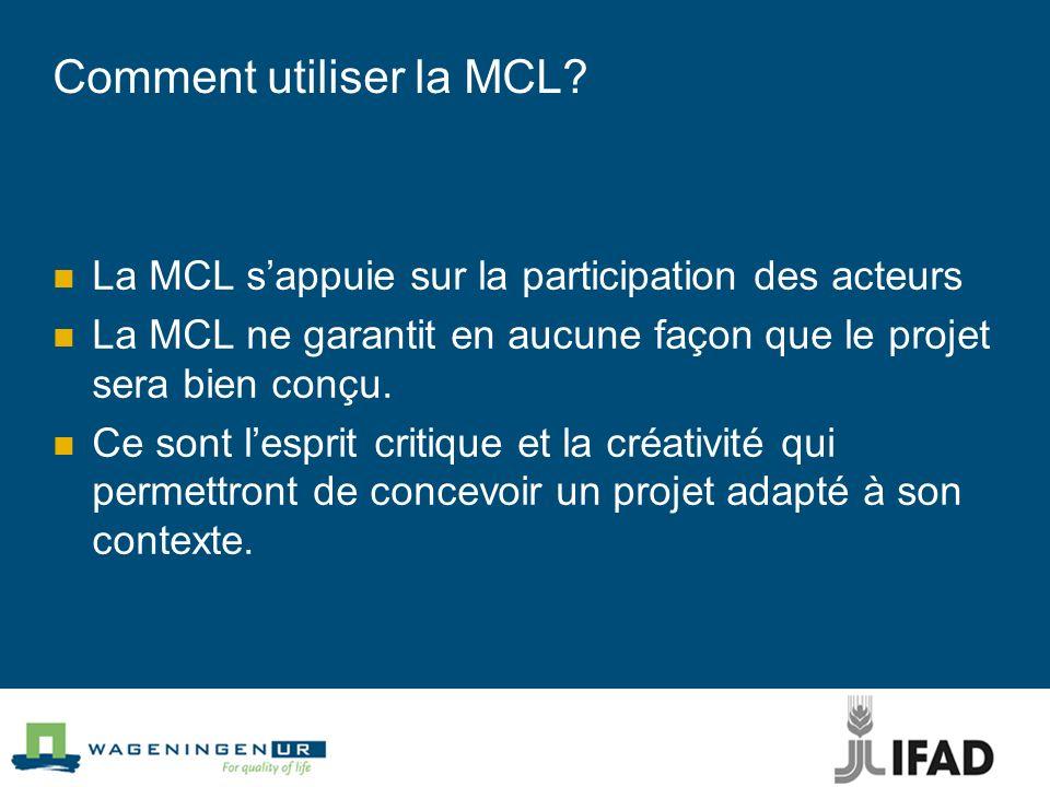 Comment utiliser la MCL.