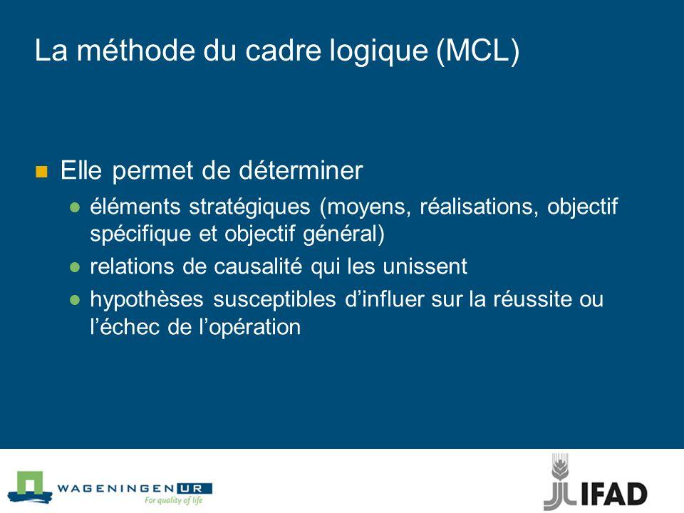 La méthode du cadre logique (MCL) Elle permet de déterminer éléments stratégiques (moyens, réalisations, objectif spécifique et objectif général) relations de causalité qui les unissent hypothèses susceptibles dinfluer sur la réussite ou léchec de lopération