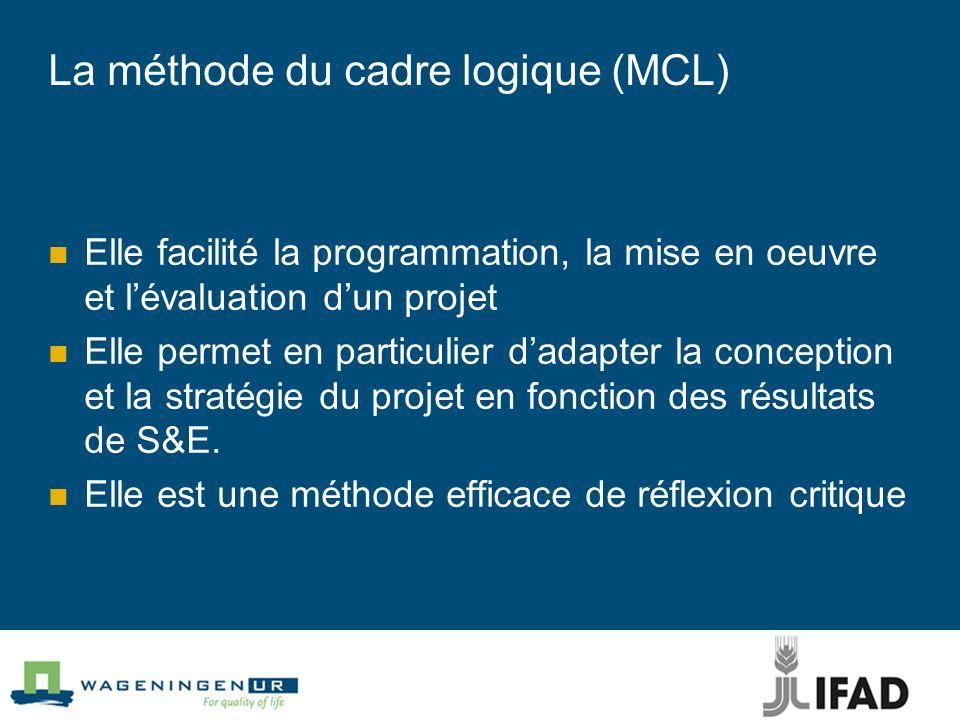 La méthode du cadre logique (MCL) Elle facilité la programmation, la mise en oeuvre et lévaluation dun projet Elle permet en particulier dadapter la conception et la stratégie du projet en fonction des résultats de S&E.