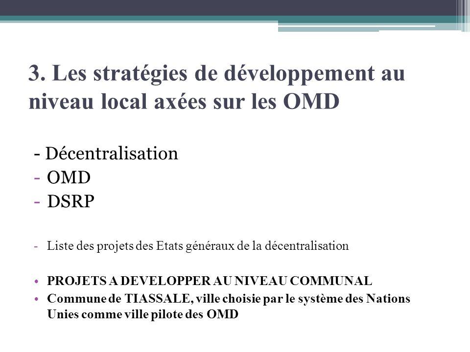 3. Les stratégies de développement au niveau local axées sur les OMD - Décentralisation -OMD -DSRP -Liste des projets des Etats généraux de la décentr
