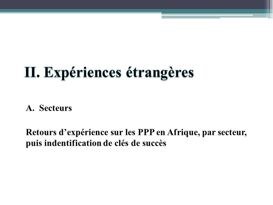 A. Secteurs Retours dexpérience sur les PPP en Afrique, par secteur, puis indentification de clés de succès