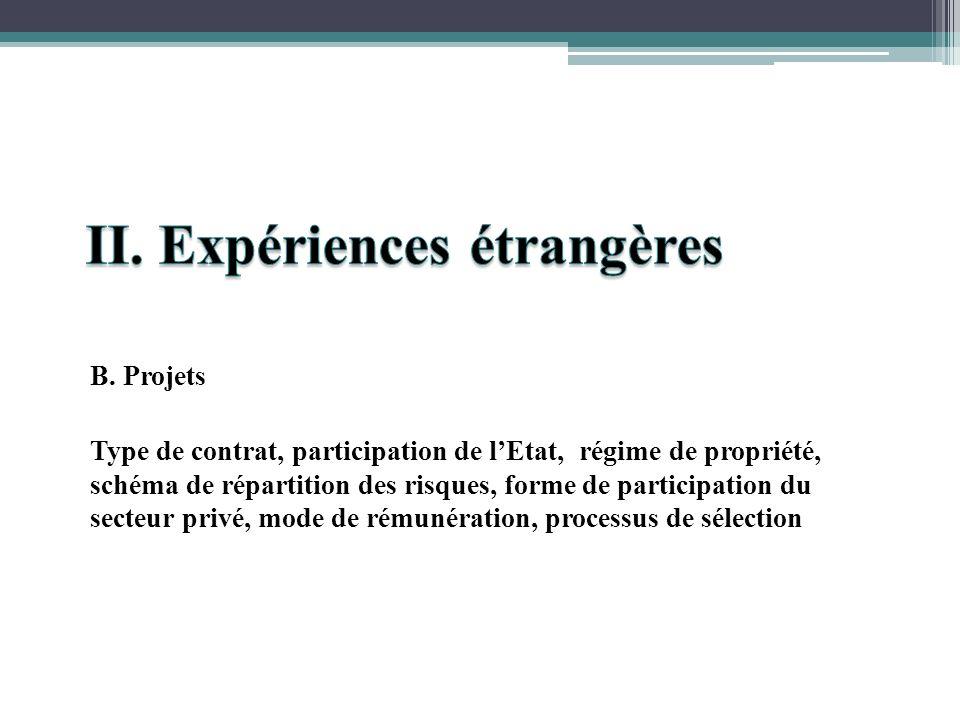 B. Projets Type de contrat, participation de lEtat, régime de propriété, schéma de répartition des risques, forme de participation du secteur privé, m