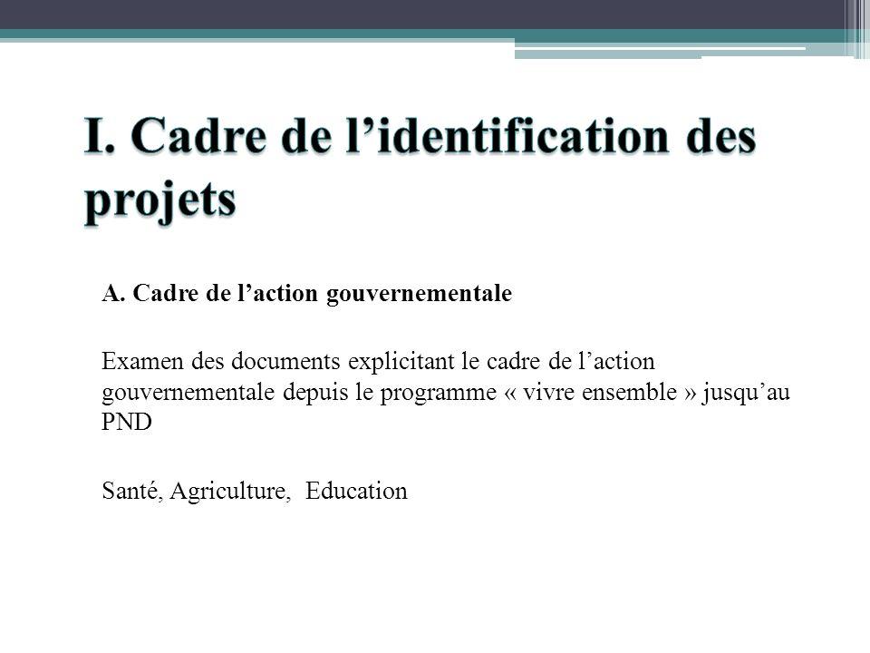 A. Cadre de laction gouvernementale Examen des documents explicitant le cadre de laction gouvernementale depuis le programme « vivre ensemble » jusqua