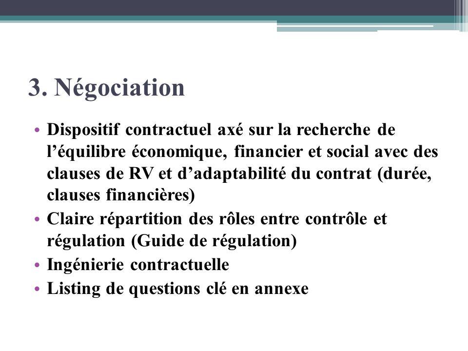 3. Négociation Dispositif contractuel axé sur la recherche de léquilibre économique, financier et social avec des clauses de RV et dadaptabilité du co