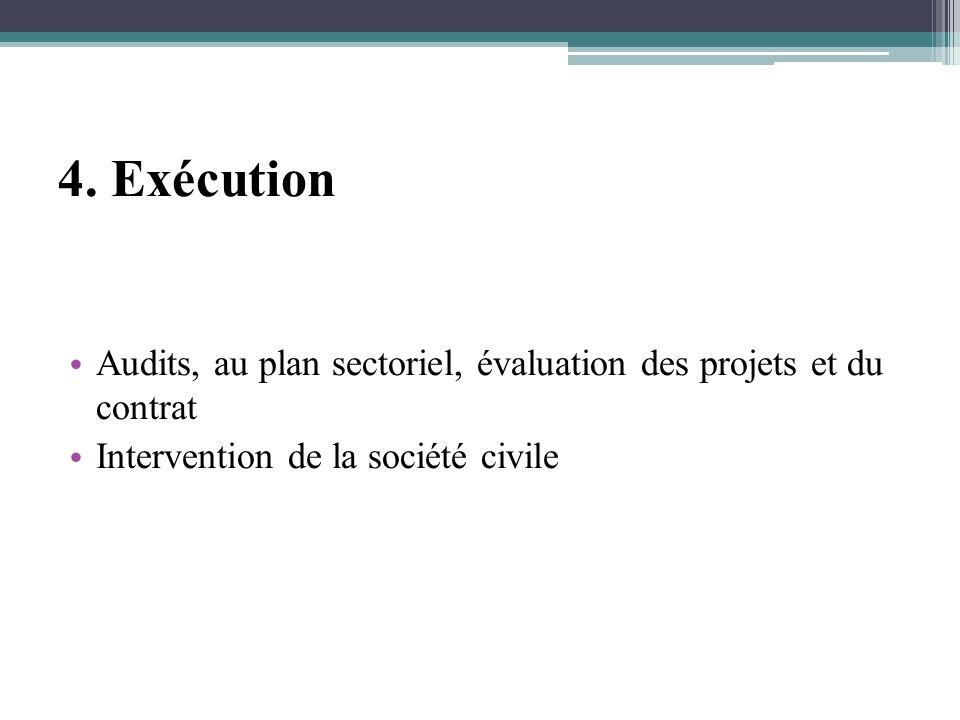 4. Exécution Audits, au plan sectoriel, évaluation des projets et du contrat Intervention de la société civile